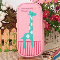 Творческий милый пенал для карандашей большая канцелярская сумка Розовый