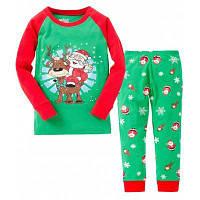 Детская пижама с Сантой на Новый год и Рождество Футболка с длинным рукавом+Штаны 90