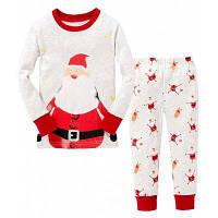 Детская пижама с Санта-Клаусом на Рождество и Новый год Футболка с длинным рукавом+Штаны 140