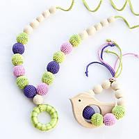 """Подарочный набор для мамы и малыша: слингобусы и грызунок Ярмирина """"Фрезии Меланж"""" буковые, фото 1"""