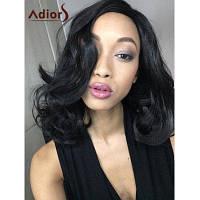 Стильный Средний Кудрявая Высокая температура волокна Женщины парик Чёрный