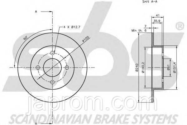 Тормозной диск заднийNissanMicra K11 1992-2002г.в. 240мм
