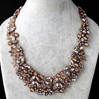 Ожерелье Искусственный Драгоценный Камень, Листва Золотой