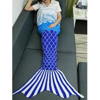 Цвет Омбре Вязание Рыба Дизайн Чешуи Русалка Хвост Одеяло Красочный