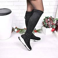 Сапоги женские ботфорты Sporty черные