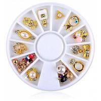 12шт ногтей золото цветок кольцо сплава, ювелирные изделия перлы украшения Цветной