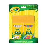 Мел Crayola для досок, мольбертов, флипчартов белый, цветной 24 шт + губка для вытирания