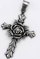 Крест с розой (медицинская сталь), фото 1