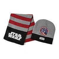 Детский вязаный комплект 2в1 Star Wars (Звездные войны) шапка + шарф из акрила (размеры 51 / 54) ТМ ARDITEX SW9867 серый