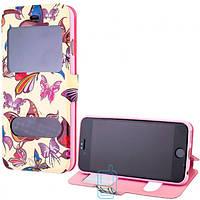 Чехол-книжка Flower Case 2 окна iPhone 6 Butterfly beige