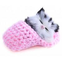 Плюшевая звучащая игрушка Спящая Кошка Розовый