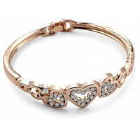 Женщин Любовь Сердце Pattern Выдалбливают Искусственные Камни Браслет Золотой