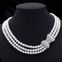 Элегантный Бантом Со Стразами Трехслойная Ожерелье Из Искусственного Жемчуга Для Женщин Белый