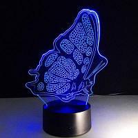 Изменение цвета 3D Illusion бабочки LED Детская комната Night Light Разноцветный
