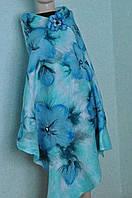 """Шарф-снуд голубой с принтом """"синие цветы"""" LilyScarf"""