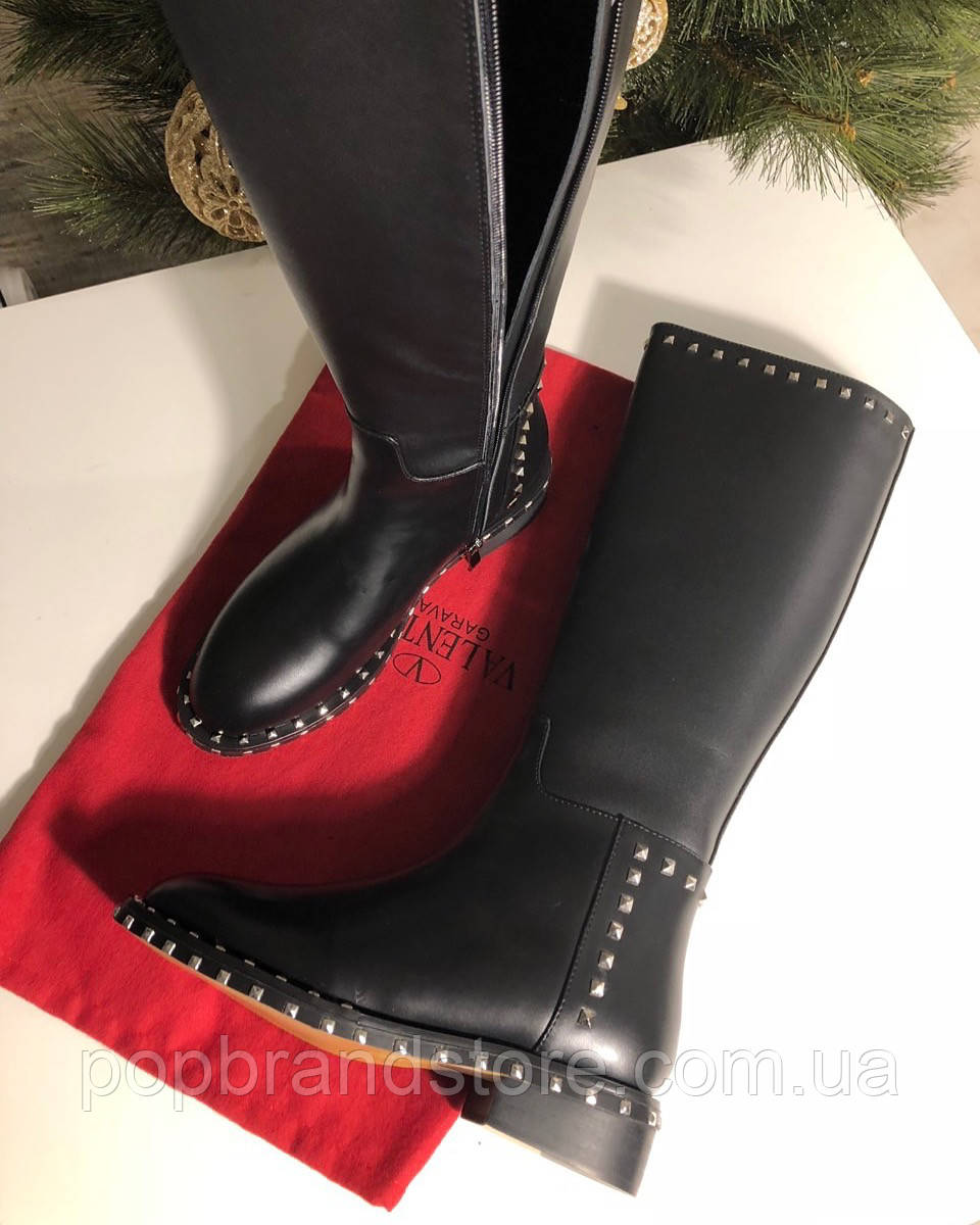 145cc5b15d35 Кожаные сапоги VALENTINO Soul Rockstud на низком каблуке (реплика) - Pop  Brand Store