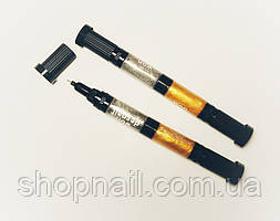 Маркер-лак для ногтей двухсторонний 2 в 1 золото-серебро