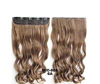 Накладная прядь на 5-ти клипсах-заколках, наращивание волос, волнистые длинные волосы, шиньон, цвет - №6А