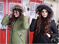 Зимнее пальто на синтепоне и меху женское норма и  БАТАЛ