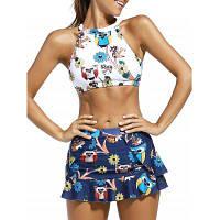 Высокий принт верхней части шеи печатания живота с юбкой+трусы Swimsuit XL
