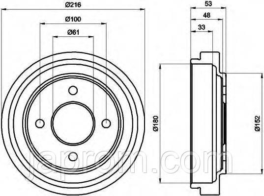 Тормозной барабан Nissan Micra K11 1992-2002г.в. 216мм