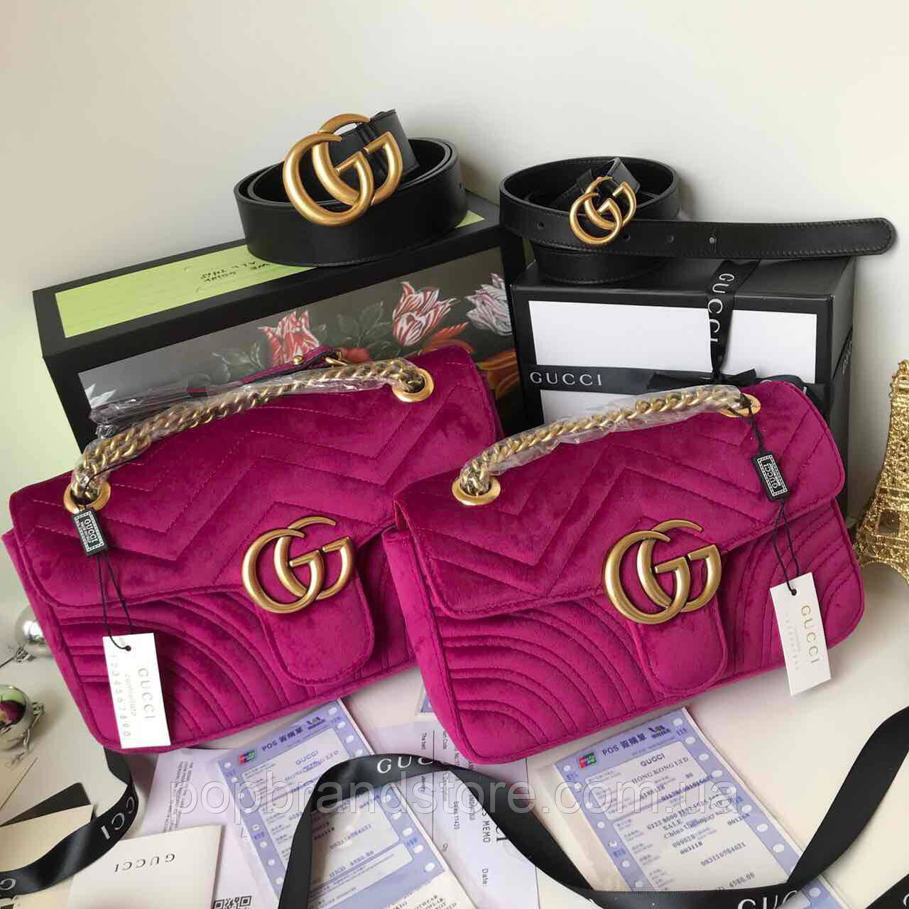 35c38866aaa7 Милейшая сумочка GUCCI GG Marmont бархат 22 см (реплика) - Pop Brand Store