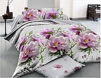 Красивый комплект постельного белья с большими цветами 3Д