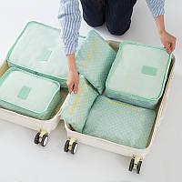 Набор 3+3 сумки - органайзеры дорожные. Голубой в горошек