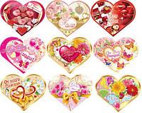 Валентинка 26-05 РУС Сердце двойное 15,5х13см с присыпкой уп20