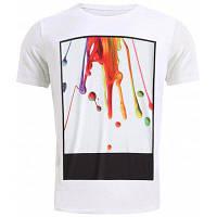 Круглый шеи Стильный 3D Coloful Пигмент Печать с коротким рукавом футболки для мужчин XL