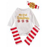 Комплект для девочки на Рождество Бодик my first Christmas+Гетры+Повязка 100