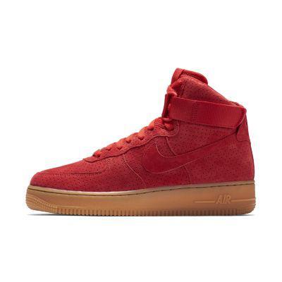 Купить Женские высокие красные замшевые кроссовки Nike Air Force ... 5f13caa6bf0