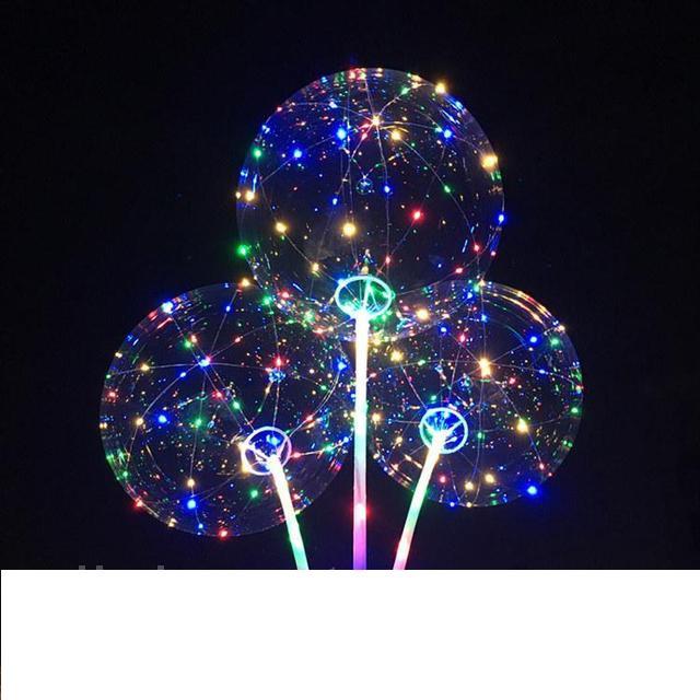 Воздушный светящийся прозрачный шарик c подсветкой Led Bobo-balloons с музыкой