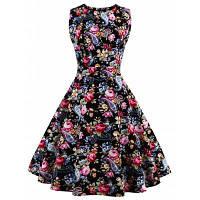 Черное платье с цветочным узором, с пышной юбкой и бантом сзади M