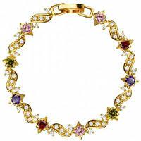 18k золото покрытием кубический цирконий Кристалл Браслет для женщин Разноцветный