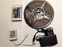 Светодиодная лента Комплект 3528 SMD RGB 60/1m Влагозащищенная с Контроллером, Пульт и БП