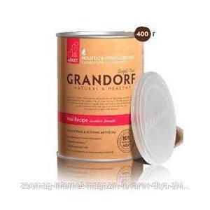 """Консервы """"Grandorf телятина"""" 8,5/6,5 (для взрослых собак всех пород), 400г"""
