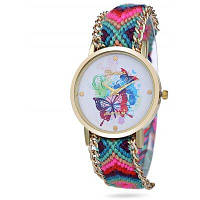 Geneva Женские кварцевые часы с плетеным ремешком для часов из шерсти и узором бабочки на циферблате Синий и розовый