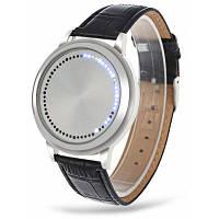 Водонепроницаемые наручные часы со светодиодным сенсорным экраном и кожаным ремешком для часов 24216
