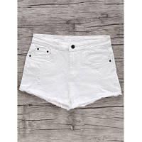 Шикарный белый Высокая талия Изношенные Fringe джинсовые шорты для женщин S