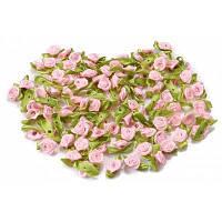 100PCS мини атласная лента розы ручной работы Розовый