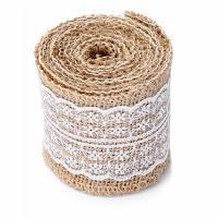 Рулон натуральной мешковины с кружевом Белый
