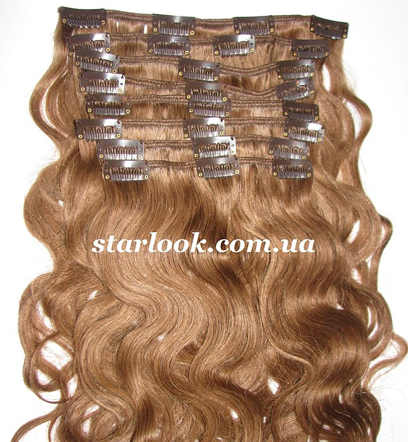 Набор натуральных вьющихся волос на клипсах 52 см. Оттенок №7. Масса: 110 грамм., фото 1