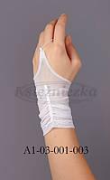 Перчатки белые драпированные сеточка KS1-3