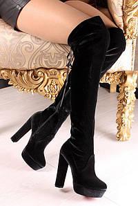 Женские чёрные демисезонные сапоги ботфорты на устойчивом каблуке сзади на завязках1070