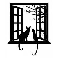 """Настенный съемный стикер ПХВ с принтом """"кот на окне"""" Чёрный"""