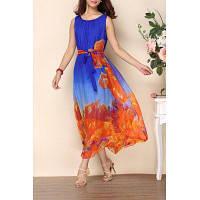 Scoop шеи Печатный пляж платье XL