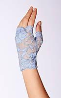 Вечерние перчатки гипюровые (голубые) KS24-4