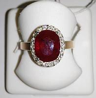 Серебряное кольцо с золотом и натуральным рубином Лоренс, фото 1