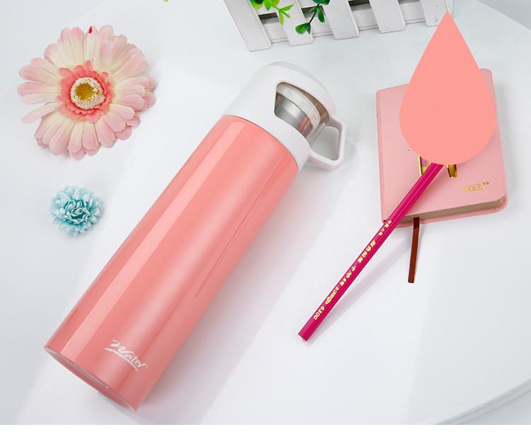 Термос с чашкой 500 мл розовый